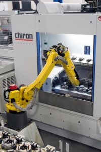 Workpiece load/unload achieved via a fully integrated Variocell UNO compact handling robot and workpiece storage unit for loading and unloading workpieces before and after machining.